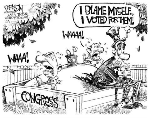 John Darkow - Columbia Daily Tribune, Missouri - The Government we Deserve - English - Blame, Vote, Childish, congress, GOP, Dems, Uncle Sam, people, voters, shut down, government
