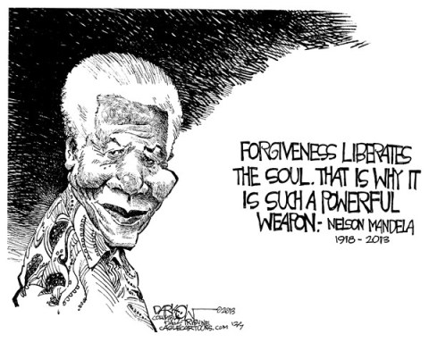 John Darkow - Columbia Daily Tribune, Missouri - Mandela - English - Forgiveness, liberates, soul, powerful, weapon, Nelson, Rolihlahla, Mandela, South African, anti-apartheid, revolutionary, politician, philanthropist, President, South Africa, death, dead