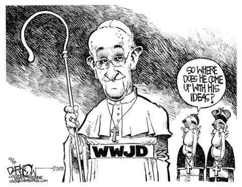 John Darkow - Columbia Daily Tribune, Missouri - Pope of the Year - English - Pope Francis,flashy cars,humble,Catholic Church,austere,focus,poor,car,pope person of the year