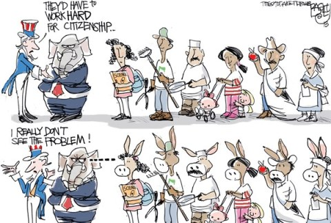 Pat Bagley - Salt Lake Tribune - Immigration Reform - English - Immigration, GOP, Republicans, Immigration reform, Path to Citizenship, Uncle Sam, Illegals, Undocumenteds, Papers, Green Card, Work Permit, Rubio