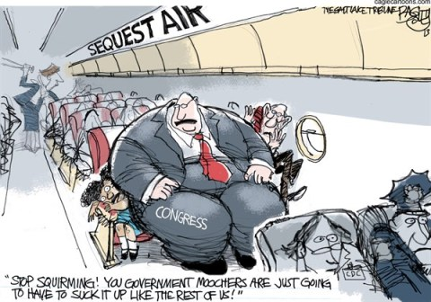 Pat Bagley - Salt Lake Tribune - Sequester Squeeze - English - Sequester, Congress, FAA, Head Start, CDC, Sequestration, Obama, Senate, Boehner, Cantor, Ryan