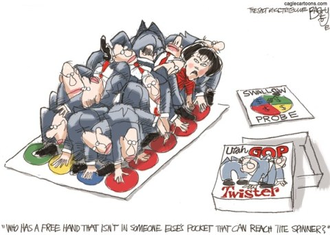 Pat Bagley - Salt Lake Tribune - LOCAL Utah Legislature Twister - English - Utah, Legislature, Twiter, Lockhart, Swallow, Snow, Corruption