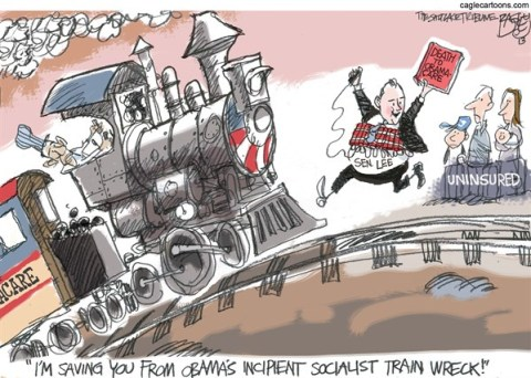 Pat Bagley - Salt Lake Tribune - Stopping Obama - English - Mike Lee, Utah, Senator Lee, Lee, Obamacare, Government, Suicide Bomb, train Wreck, Obama, Uninsured