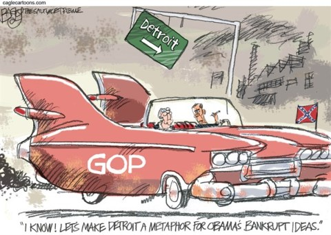 Pat Bagley - Salt Lake Tribune - Motor City Metaphor - English - Detroit, Motor City, Bankrupt, Bankruptcy, McConnell, Boehner, GOP, Republicans, Obama