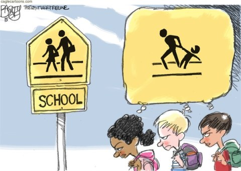 Pat Bagley - Salt Lake Tribune - Back-to-school Blues - English - Back-to-school, School, Vacation, Summer, kids, children, teachers, parents, School X-ing