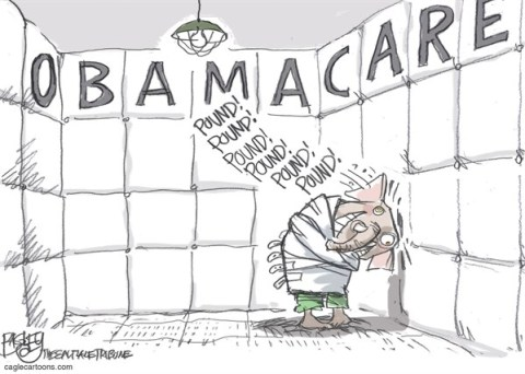 Pat Bagley - Salt Lake Tribune - Pounding Obamacare COLOR - English - ACA,Health Care,Insanity,Republicans,Defund,GOP, Obamacare