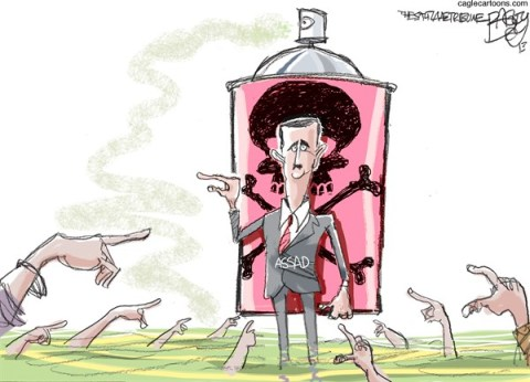 Pat Bagley - Salt Lake Tribune - Syrian Gas Attack COLOR - English - Syrian,Bashar al-Assad,Assad,Nerve Agent,Nerve Gas,Gas Attack,Chemical Weapons,WMD