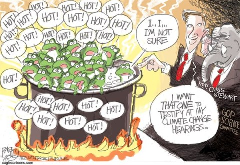Pat Bagley - Salt Lake Tribune - Climate Change Frogs - English - Climate Change, Global Warming, Frogs, Chris Stewart, Science, Deniers, Climate Science, GOP, Republicans