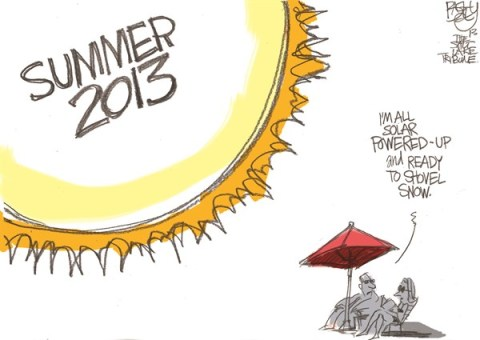 Pat Bagley - Salt Lake Tribune - Labor Day - English - Summer, 2013, Hot, Sun, Climate, Global Warming, Labor Day