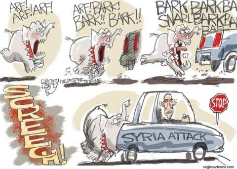 Pat Bagley - Salt Lake Tribune - The Dog of War - English - Syria, Chemical, Weapon, Assad, Obama, Nerve Gas, Attack, War, Boehner, Republicans, GOP
