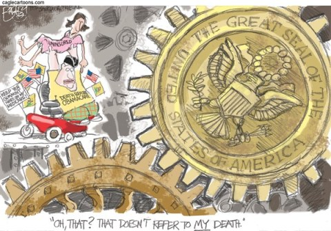 Pat Bagley - Salt Lake Tribune - Tea Party Courage - English - Tea Party, Obamacare, Uninsured, Health Care, Government Shutdown, Boehner, Mike Lee, Ted Cruz, Medicare