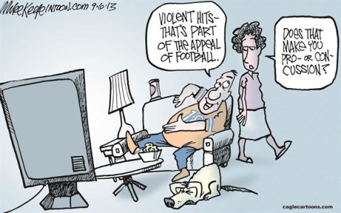 Mike Keefe - Cagle Cartoons - Football Violence COLOR - English - football; violence; nfl; concussion; injury; sports; settlement; players