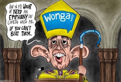 Brian Adcock - The Scotland - Archbishop Backs Down on Pay Day Lenders - English - welby, archbishop of Canterbury, Wonga, Wongacom, if you cant beat them, straight talking money, pay day lenders, U-turn, back down,
