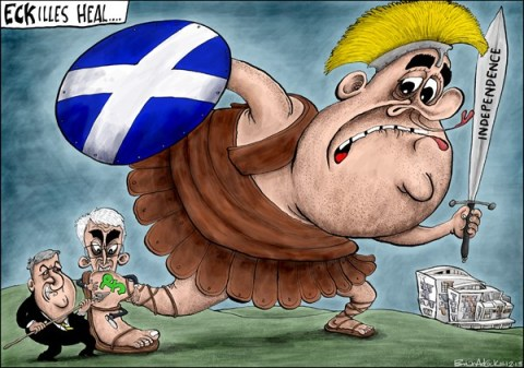 Brian Adcock - The Scotland - CURRENCY IS ACHILLES HEEL FOR SCOTTISH LEADER ECK - English - eckilles heel, Achilles heal, alex salmond, SNP, Scotland, UK, britain, currency, sterling, pound, Carmichael, Alistair darling, holyrood,