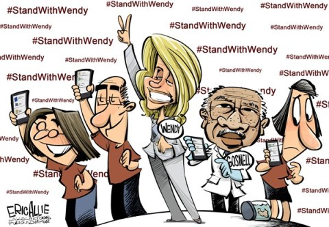 Eric Allie - Caglecartoons.com - Stand with Wendy COLOR - English - texas, late term abortion, stand with wendy, democrats, progressive, neanderthal