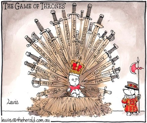 Peter Lewis - Australia, Politicalcartoons.com - The Game of Thrones - English - game of thrones, birth, royal baby, baby, royals, William, Kate, prince, princess, Queen, King, Britain