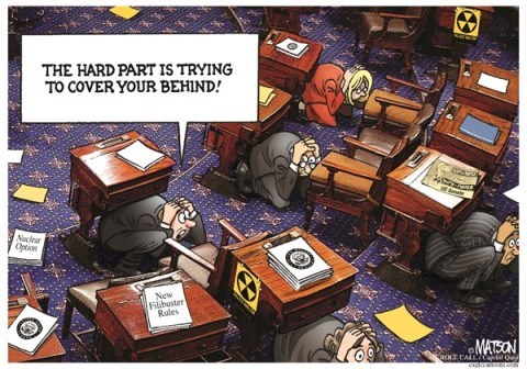 "RJ Matson - Roll Call - Senators Adapt To New ""Nuclear Option"" Filibuster Rules-COLOR - English - Senators Adapt To New ""Nuclear Option"" Filibuster Rules, Senate, Congress, Filibuster, Duck and Cover"