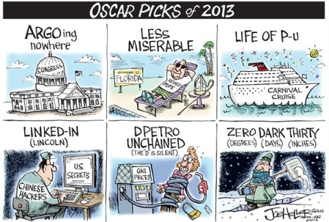 Joe Heller - Green Bay Press-Gazette - Oscar Picks - English - Oscar picks, congress, argo, pope, les mis, life of pi, carnival cruise, lincoln, chinese hacking, unchained, gas, zero dark thirty, snow