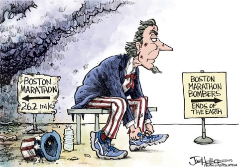 Joe Heller - Green Bay Press-Gazette - Marathon - English - Boston marathon, bombings, 262 miles, race, ends of the earth, uncle sam, terrorism