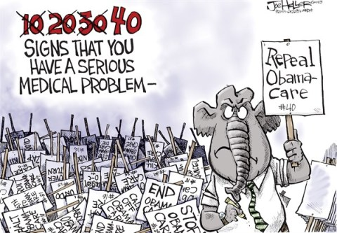 Joe Heller - Green Bay Press-Gazette - Repeal 40 - English - repeal 40, obamacare, affordable health care act, congress, signs, forty, tea party