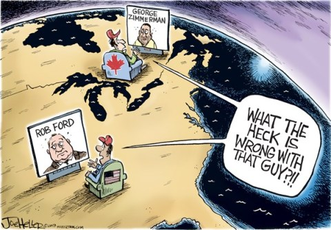 Joe Heller - Green Bay Press-Gazette - Ford  Zimmerman - English - Rob ford, george zimmerman, USA, Canada