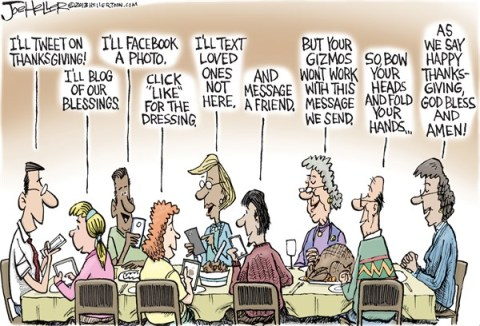 Joe Heller - Green Bay Press-Gazette - Thanksgiving - English - Thanksgiving, turkey, technology, cellphone, texting, facebook, prayer