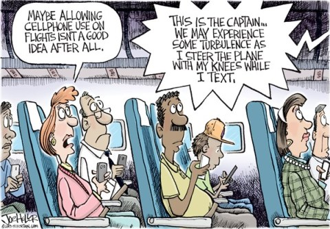 Joe Heller - Green Bay Press-Gazette - Cellphones on planes - English - Cellphones on planes, fcc, texting and driving, flying