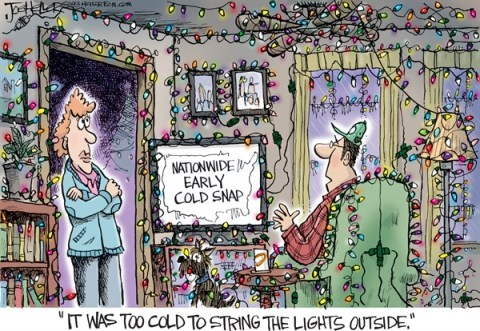Joe Heller - Green Bay Press-Gazette - Cold Snap - English - cold snap, christmas lights, freezing, weather