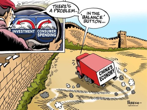 Paresh Nath - The Khaleej Times, UAE - China's economy COLOR - English - Chinas economy,investment, consumer spending, imbalance, china wall, balance button, economic troubles