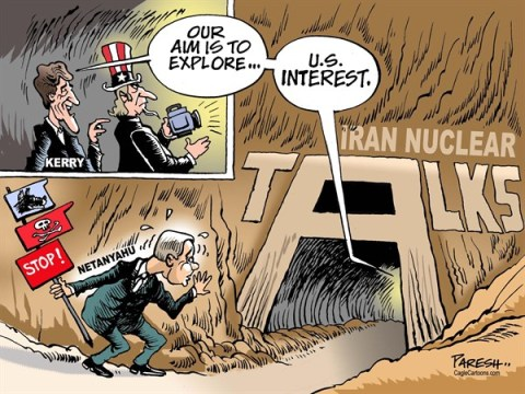 Paresh Nath - The Khaleej Times, UAE - USA, Iran and Israel COLOR - English - Iran nuclear talks, Iran nuke, nuclear programme,US interest, John Kerry, Israel, Netanyahu, US-Iran relations, US-Israel ties, Israeli threat, Israeli warning
