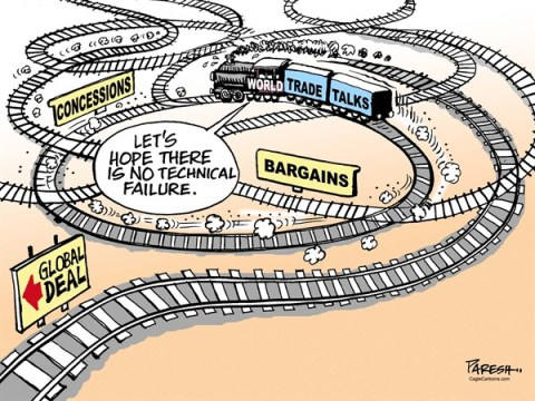 Paresh Nath - The Khaleej Times, UAE - World Trade Talks COLOR - English - WTO, trade talks, Global trade deal, concessions, bargains, agricultural subsidies, rail networks, rail tracks, technical failure