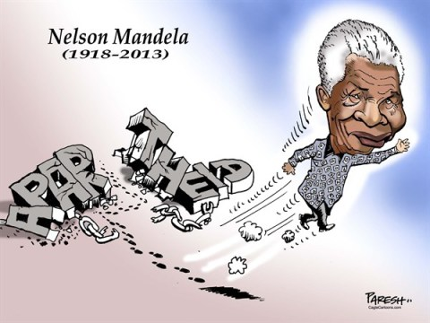 Paresh Nath - The Khaleej Times, UAE - Nelson Mandela departs COLOR - English - Nelson Mandela, apartheid, chains broken, broken wall, Mandela to heaven, South Africa, freedom struggle, 1918-2013