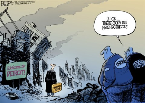 Nate Beeler - The Columbus Dispatch - Detroit Bankruptcy COLOR - English - detroit, bankrupt, bankruptcy, judge, unions, pension, system, city, municipal, motor city, automakers, economy, taxes, neighborhood, urban, infrastructure, michigan, politics