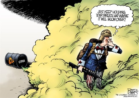 Nate Beeler - The Columbus Dispatch - Gassed COLOR - English - united states, syria, middle east, iraq, afghanistan, libya, war, chemical, weapon, attack, wmd, assad, foreign affairs, world, us, breath, gas