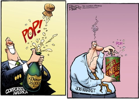 Nate Beeler - The Columbus Dispatch - Dow Hits Record COLOR - English - wall street, corporate, america, job, market, jobs, champagne, pop, energy, drink, cork, business, economy, dow jones, stocks