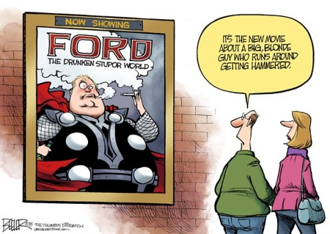 Nate Beeler - The Columbus Dispatch - Rob Ford Movie COLOR - English - mayor, rob ford, toronto, crack, drunken, stupor, thor, dark world, superhero, marvel, comics, entertainment, movie, film, drugs, canada