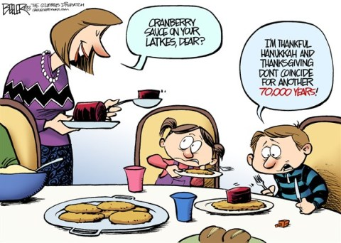 Nate Beeler - The Columbus Dispatch - Thanksgivukkah COLOR - English - hanukkah,thanksgiving,holiday,latke,coincide,children,dinner,food,cranberry,sauce,jewish,jew,judaism,religion,thanksgivukkah