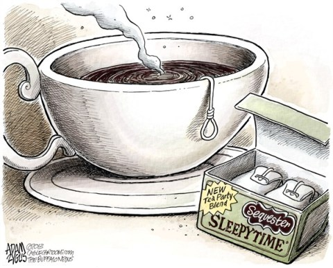 Adam Zyglis - The Buffalo News - Tea Party Austerity COLOR - English - sequester, sequestration, gop, tea party, cuts, government, tea, noose, spending, jobs, layoffs, austerity, congress, house