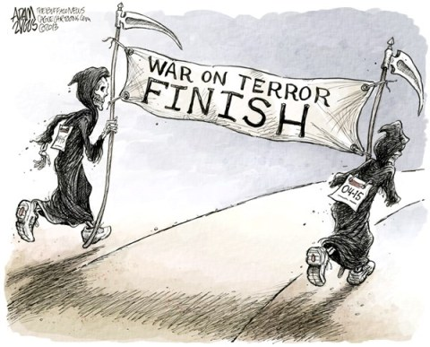 Adam Zyglis - The Buffalo News - Marathon Terrorism COLOR - English - boston, marathon, attack, bombing, terrorism, war on terror, finish line, deaths