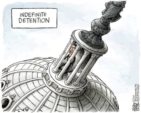 Adam Zyglis - The Buffalo News - Obama 2nd Term Agenda COLOR - English - obama, detainee, indefinite, detention, president, barack, white house, congress, gop, house, second term, agenda, gun control, reform, safety, immigration, legislation, bill, sequestration, gitmo, guantanamo bay, terrorists, hunger strike