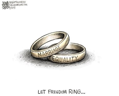 Adam Zyglis - The Buffalo News - DOMA Struck Down COLOR - English - doma, defense of marriage act, marriage, supreme court, scotus, gay, same sex, equality, rights, civil rights, federal, benefits