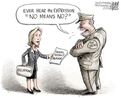 Adam Zyglis - The Buffalo News - Sexual Assault Reform COLOR - English - military, sexual assault, rape, pentagon, policy, reform, bill, legislation, senator, gillibrand, kirsten, congress, senate