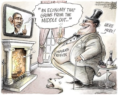Adam Zyglis - The Buffalo News - Middle Out Economy COLOR - English - obama, barack, president, speech, economy, white house, wall street, corporate profits, top, 1, one percent, rich, wealthy, middle out, middle class, class warfare