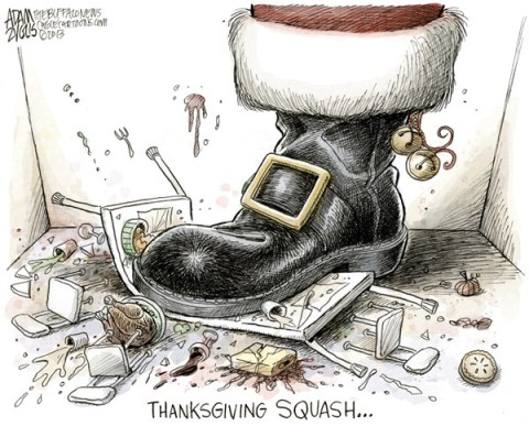 Adam Zyglis - The Buffalo News - Brown Thursday COLOR - English - brown thursday, thanksgiving, holiday, black friday, christmas, consumerism, sales, spirit, family, food