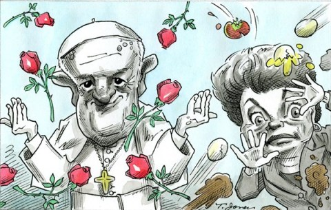Taylor Jones - El Nuevo Dia, Puerto Rico - Pope Francis and Dilma Roussef - COLOR - English - pope,francis,dilma,roussef,brazil,catholic,vatican,pontiff,poverty