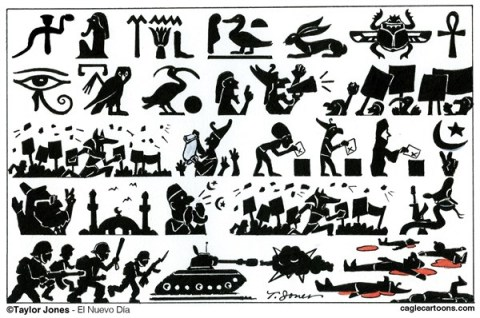 Taylor Jones - El Nuevo Dia, Puerto Rico - Egyptian hieroglyphics - COLOR - English - egypt,hieroglyphics,egyptian,coup,mohamed,morsi,abdel,fattah,el-sisi,islamic,brotherhood,massacre,military,dictatorship,martial,law,state,of,emergency