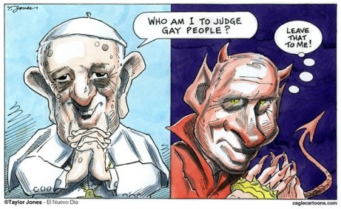 Taylor Jones - El Nuevo Dia, Puerto Rico - The Pope vs Putin - COLOR - English - pope,francis,vladimir,putin,homosexuals,gay,russia,discrimination,civil,human,rights,winter,olympics,sochi,2014,catholic,church