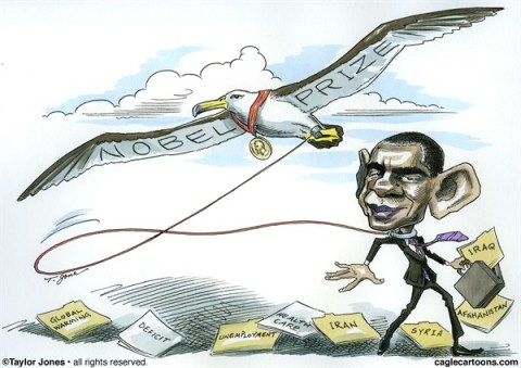 Taylor Jones - Politicalcartoons.com - Obama Peace President - REPOSTING - English - barack,obama,nobel,peace,prize,syria,middle,east