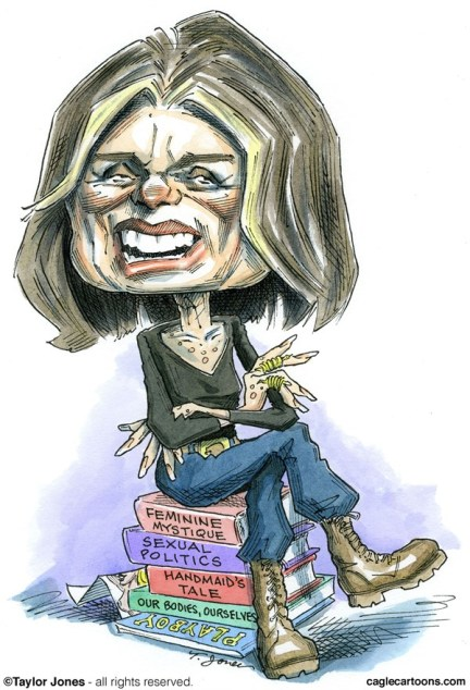 Taylor Jones - Politicalcartoons.com - Medal of Freedom recipient Gloria Steinem - COLOR - English - 		gloria,steinem,medal,freedom,womens,rights,feminism,playboy
