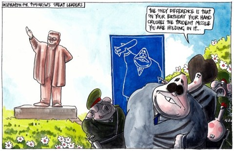 Iain Green - The Scotsman, Scotland - NORTH KOREAN BIRTHDAY boy INSPIRATION FOR SCOTLAND - English - North korea, kim il-sung, birthday, statue, alex salmond, trident, nuclear weapons, nicola sturgeon,